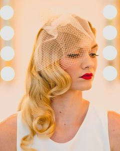 Bethany Tulle And Birdcage Short Veil In Blush Tulle - hats, hairpieces & hair clips