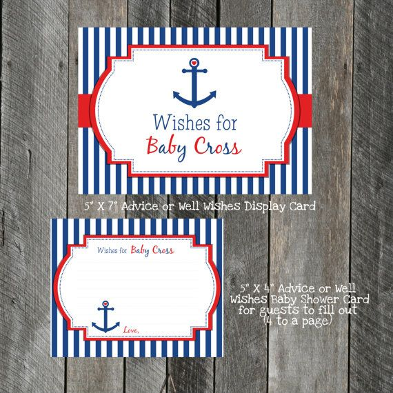 DIY Printable Advice andor Well Wishes Card .  CUSTOMIZABLE  Ahoy It's a Boy Anchor Shower Well Wishes Card by Pixels n Ink