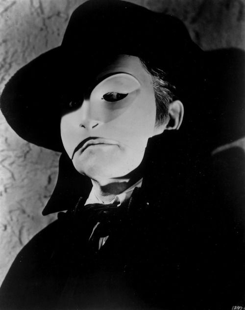Claude Rains as THE PHANTOM OF THE OPERA (1943). Had me hiding under the bedclothes back then.