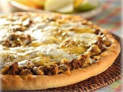 """""""sloppy joes"""" pizza:    9     Rhodes Frozen Dinner Rolls, thawed to room temperature;           1 lb     Lean Ground Beef;           ½     Yellow Onion, chopped;           10¾ oz. can     Chicken Gumbo Soup;           ⅓ cup     Ketchup;           1½ Tbsp     Mustard;           1 cup     Grated Mozzarella Cheese;           1 cup     Grated Cheddar Cheese;           ½ cup     Shredded Parmesan Cheese.  Bake at 350"""