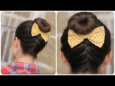 ▶ DIY French-Up High Bun | 5-minute video tutorial on YouTube #HairBun #Updo #Hairstyles #FrenchBraid