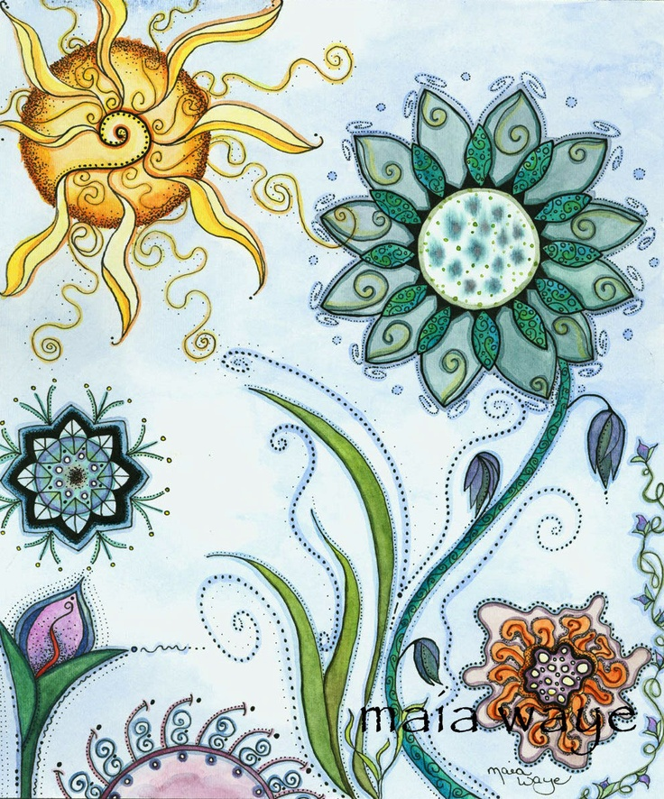 Growing with Joy ~ artist Maia Waye; she has such a lovely style #art #journal