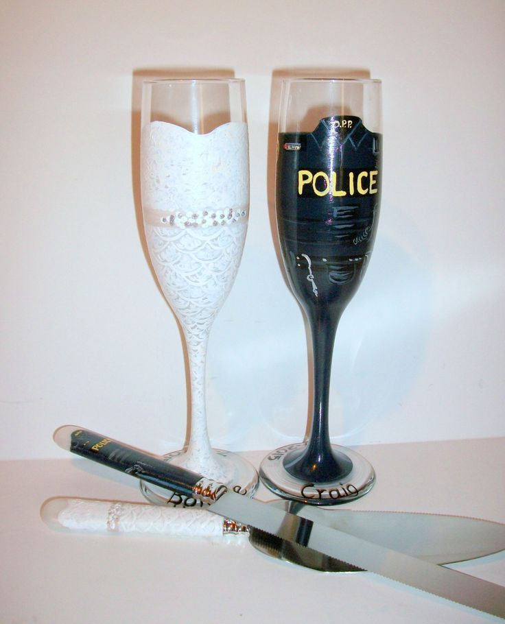 Hand Painted Champagne Futes Bride and Groom Wedding Dress and Police, Bunker Gear, Sheriff,  Champagne Flutes & Cake Knife and Server Set by SharonsCustomArtwork on Etsy