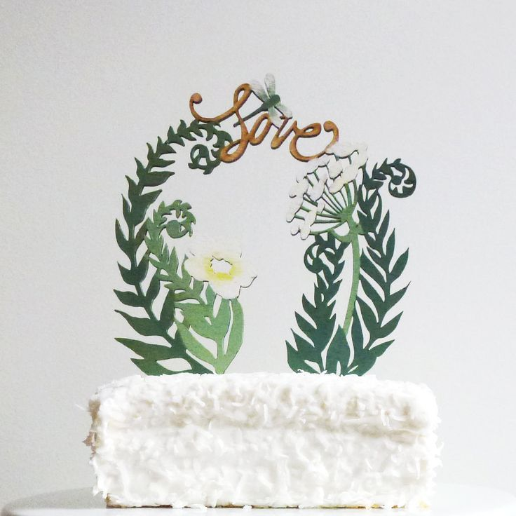 Ferns And Flowers Cake Topper