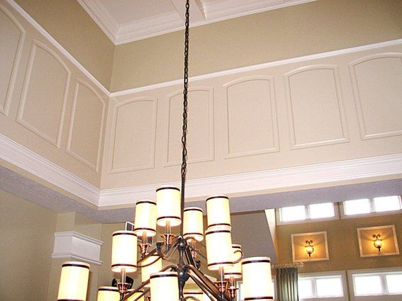 Two Story Foyer Wainscoting : Wainscoting idea two story wall sitting