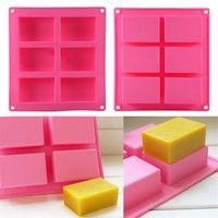 Wish   6-Cavity Plain Rectangle Soap Mold Silicone Craft DIY Making Homemade Cake Mould