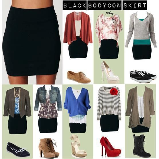 Different outfits one black skirt