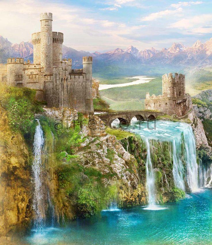Бесшовная фреска с пейзажем замка