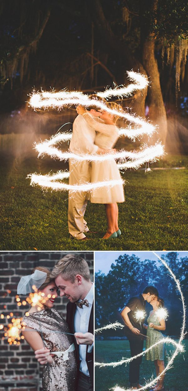 21 Cute New Year's Eve Couple Photo Ideas - Sparklers