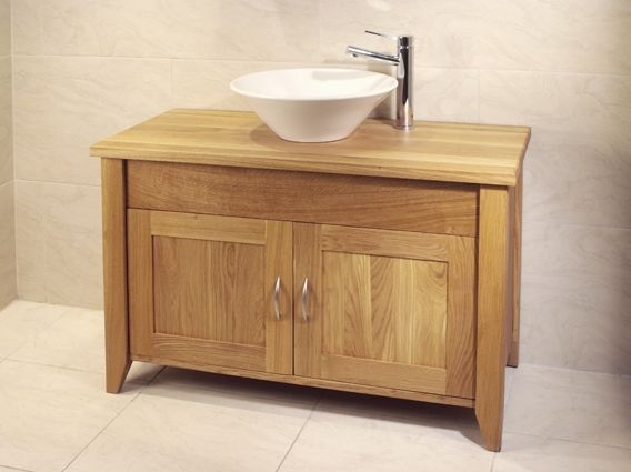 Oak Bathroom Double Wash Stand With 2 Doors - Aquarius Collection (Unfinished Finish with no top)