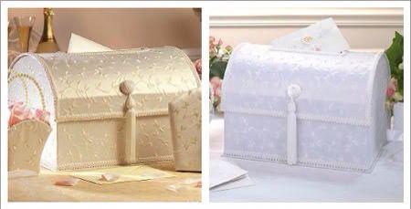 En toda #boda no puede faltar el que los #novios pasen con un cofre o zapatilla a la recolección del dinero para la #LunadeMiel y esta es una forma muy original de decorar el baúl #FindeRecomendaciones