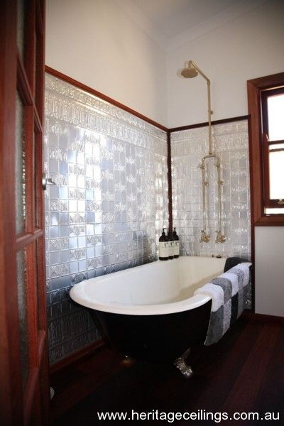 Bathroom walls using pressed metal. This design is called Wall Panel