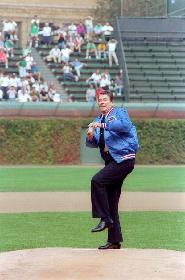 President Ronald Reagan throwing out the first pitch at a baseball game between Chicago Cubs and Pittsburgh Pirates, Wrigley Field, Chicago, Illinois. 9/30/88.