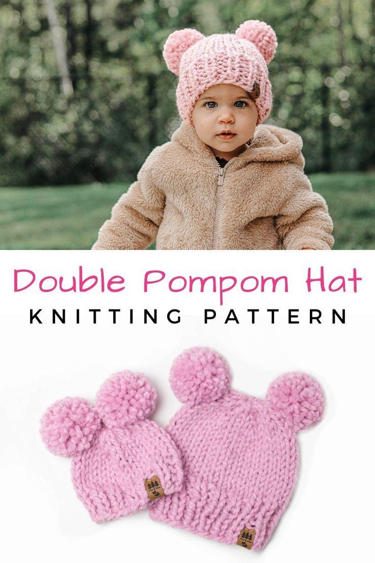 Double Pompom Hat Knitting Pattern Chunky Knit Winter ...