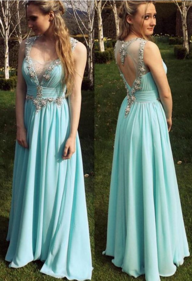 Charming Mint Green Chiffon Prom Dress, Strapless Beading Evening Dress,Sexy Open Back Prom Dress