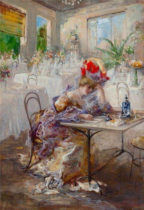 Mariani, Pompeo (b,1857)- La lettera (Signora al Caffè), 1908 -2a