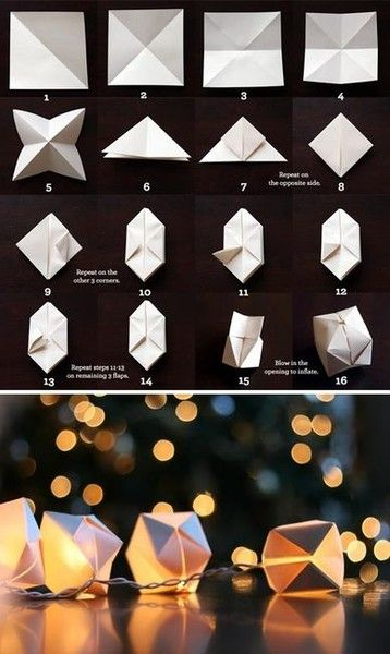 """DIY string light decors taking simple things that many people have around the house already and turning it into something else is an awesome way of showing one's creativity. materials"""" paper, (possibly scissorts), stringed lights steps: fold paper, put on lights"""