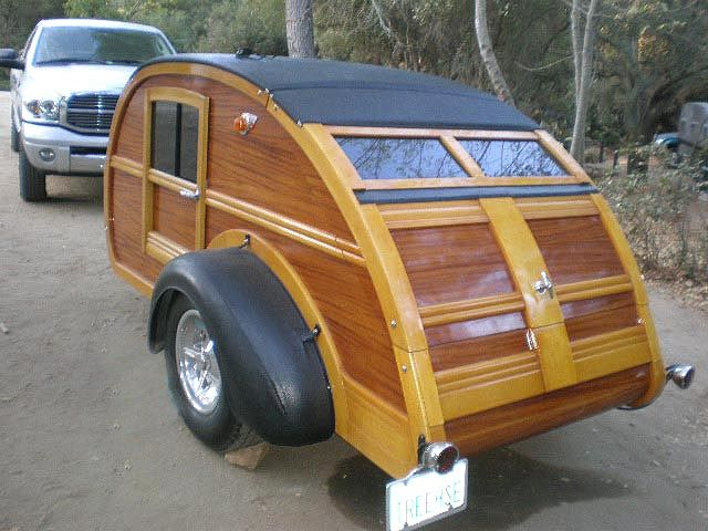 Cool Wood 1947 Teardrop Trailer With Woodie Wagon Details