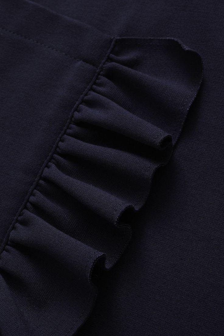 DRESS WITH MAXI POCKETS AND RUFFLES - BLUE - | Il Gufo