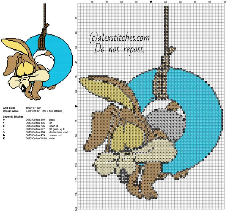 手机壳定制free run    womens Baby Wile E Coyote Looney Tunes cartoons character cross stitch pattern  x