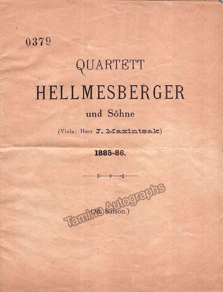 Brahms, Johannes - Von Bulow, Hans - Rosenthal, Moriz - Concert Program 1885-86!
