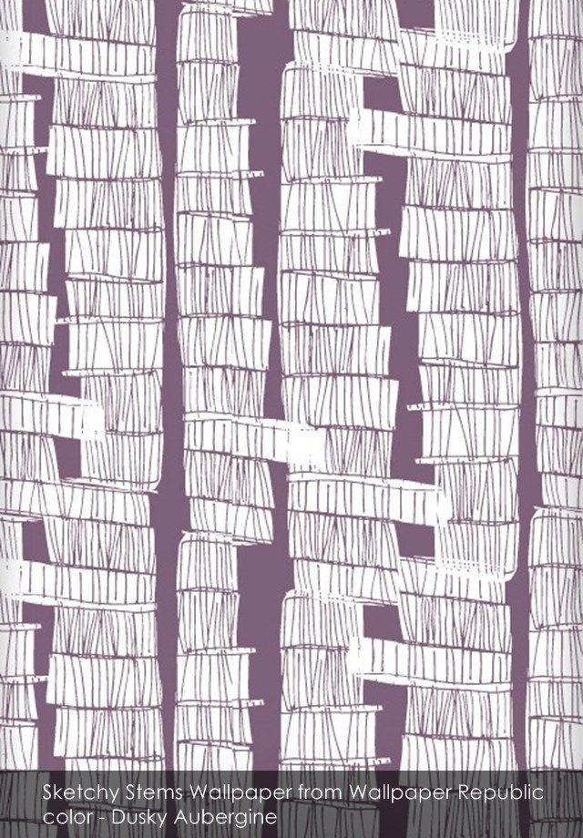 Sketchy Stems wallpaper from Wallpaper Republic in Dusky Aubergine