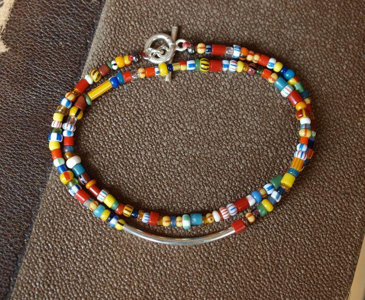 Double Wrap African Christmas Bead Bracelet by ROSjewelrydesign on Etsy https://www.etsy.com/listing/224207057/double-wrap-african-christmas-bead