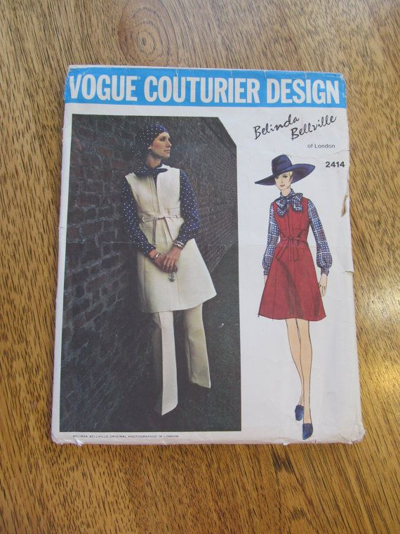 1970s Designer Belinda Bellville Couturier Jumper, Pants and Blouse - Size 12 - UNCUT Vintage Sewing Pattern Vogue 2414