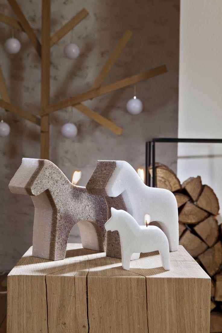 Bougie déco de Noël cheval scandinave : Accessoires & décorations par Bougies la Française