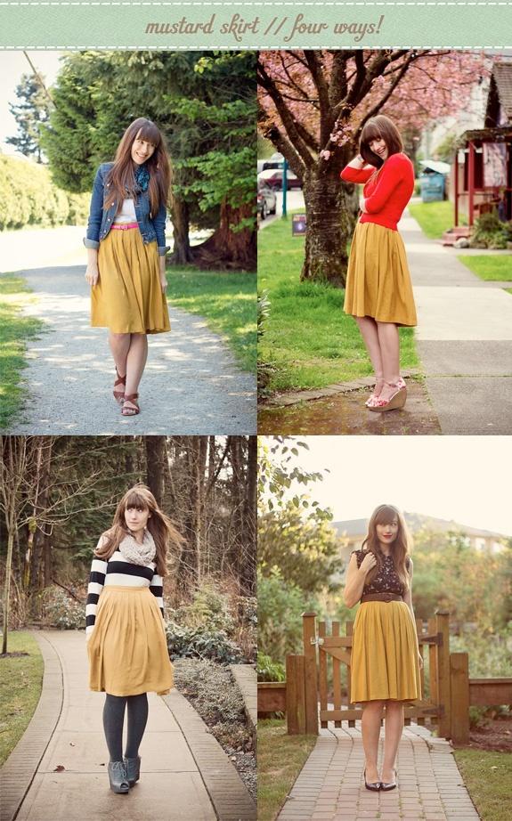 Girl and Closet: Mustard Skirt, Four Ways!