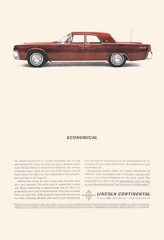 LINCOLN CONTINENTAL CAR Ad Classic Car by EncorePrintSociety