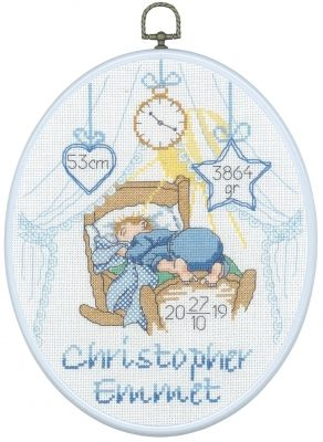 Christopher Boy Birth Announcement - Cross Stitch Kit