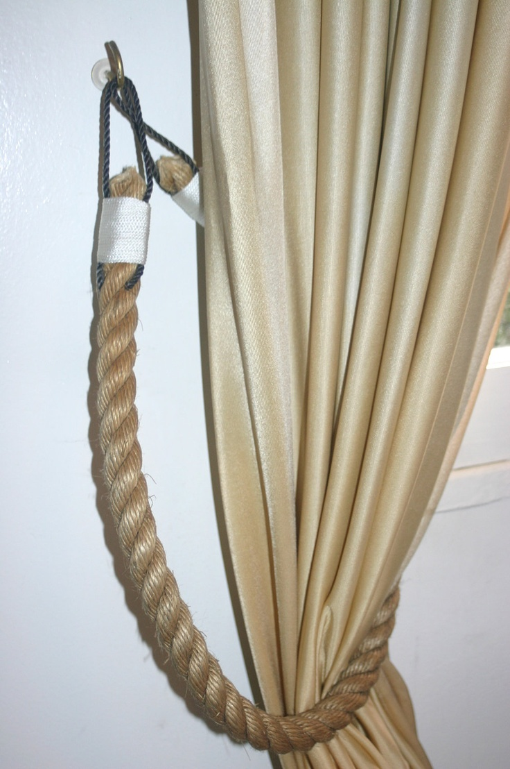 Nautical rope curtains - Nautical Rope Tiebacks For Curtains