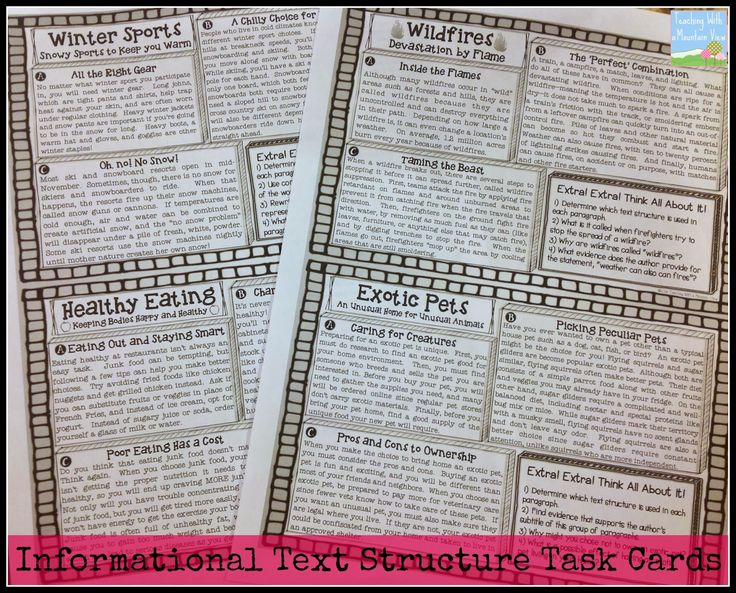 Informational Text Structures blog post- mini magazine activity using articles about one topic but each article uses a different text structure