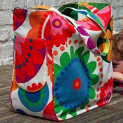 Omkeerbare strandtas, maken als draagtas voor naaimachine