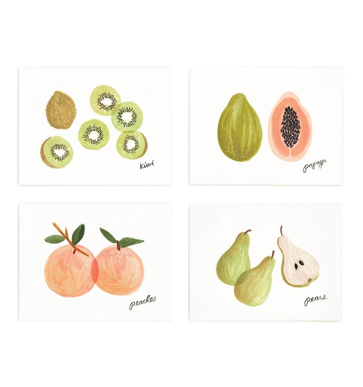 Fruit Set of 8 Folded Cards, 2 of Each Design | Rifle Paper Co.
