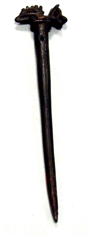 Ornamental Pin (Tupu) Date: 15th–16th century Geography: Peru Culture: Inca Medium: Bronze Dimensions: H. 6 5/8 x W. 1 5/8 in. (16.8 x 4.1 cm) Classification: Metal-Ornaments