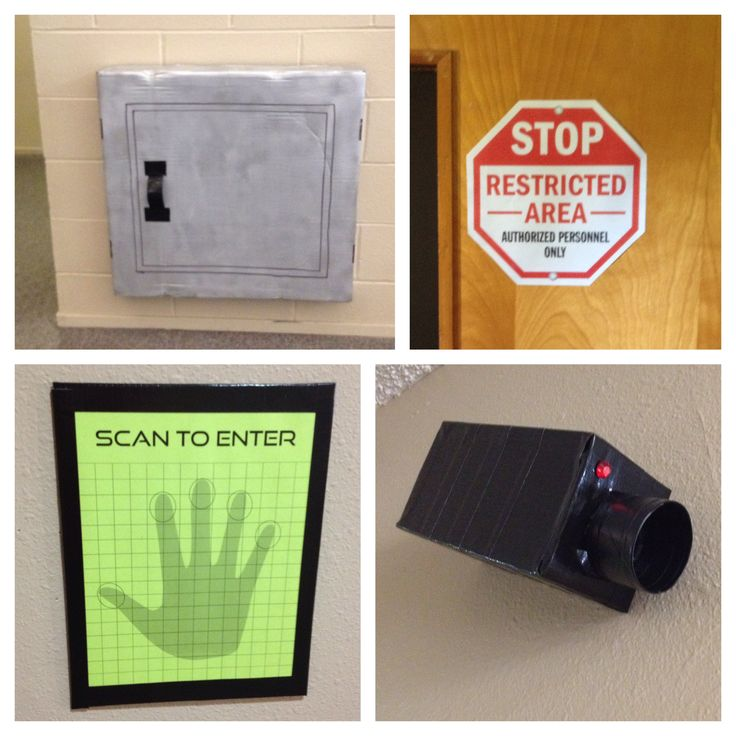 VBS 2014, international spy academy || Secret passages and air vents (not pictured), restricted access signs found by internet search, fingerprint scanners at every room entrance and security cameras (duct tape wrapped cardboard and tp roll with a red rhinestone)