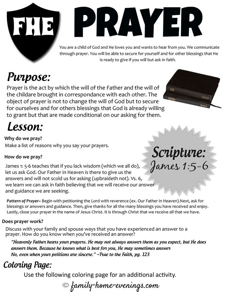 Teach kids about prayer- family home evening lesson on learning how to pray