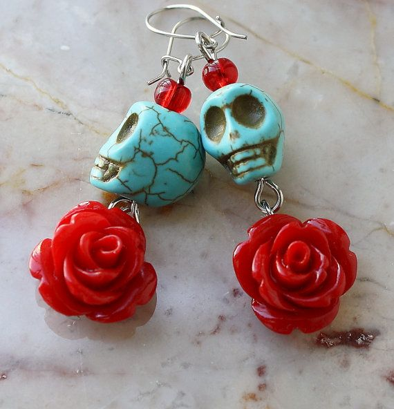 Day of the Dead Dia de los Muertos Frida Kahlo Señorita Red Rose Turquoise Skull Dangle Hypoallergenic Earrings
