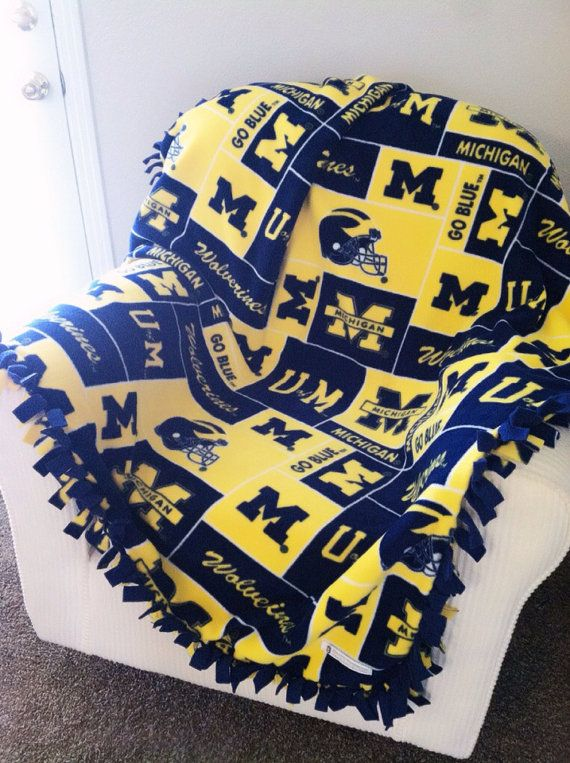 NCAA University of Michigan Blanket - Custom Blanket - No Sew Fleece Blanket / Machine Sewn Blanket / Newborn to California King Bedding on Etsy, $37.00