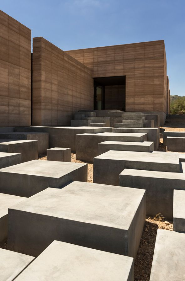 close up of stairs at Tucson Mountain Retreat by Dust Architects
