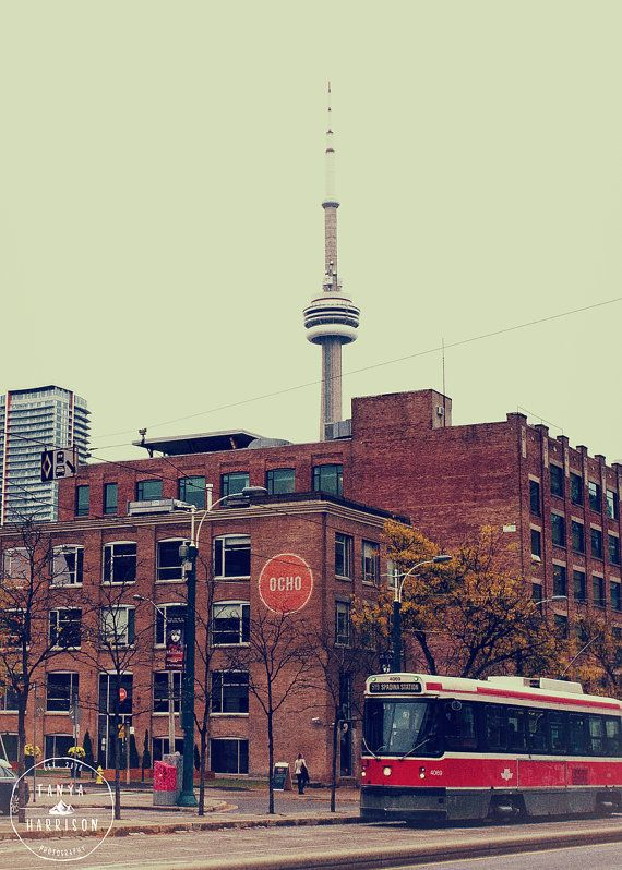 5x7 Toronto CN Tower Spadina Streetcar and by TanyaHarrisonPhoto