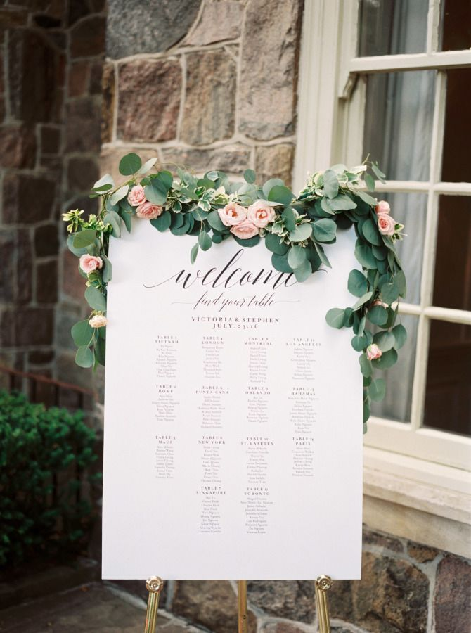 Wedding sign with cascading eucalyptus and roses: http://www.stylemepretty.com/canada-weddings/ontario/toronto/2017/01/11/the-kind-of-wedding-you-look-back-on-and-still-love-in-20-years/ Photography: Julia Park - http://www.juliapark.ca/