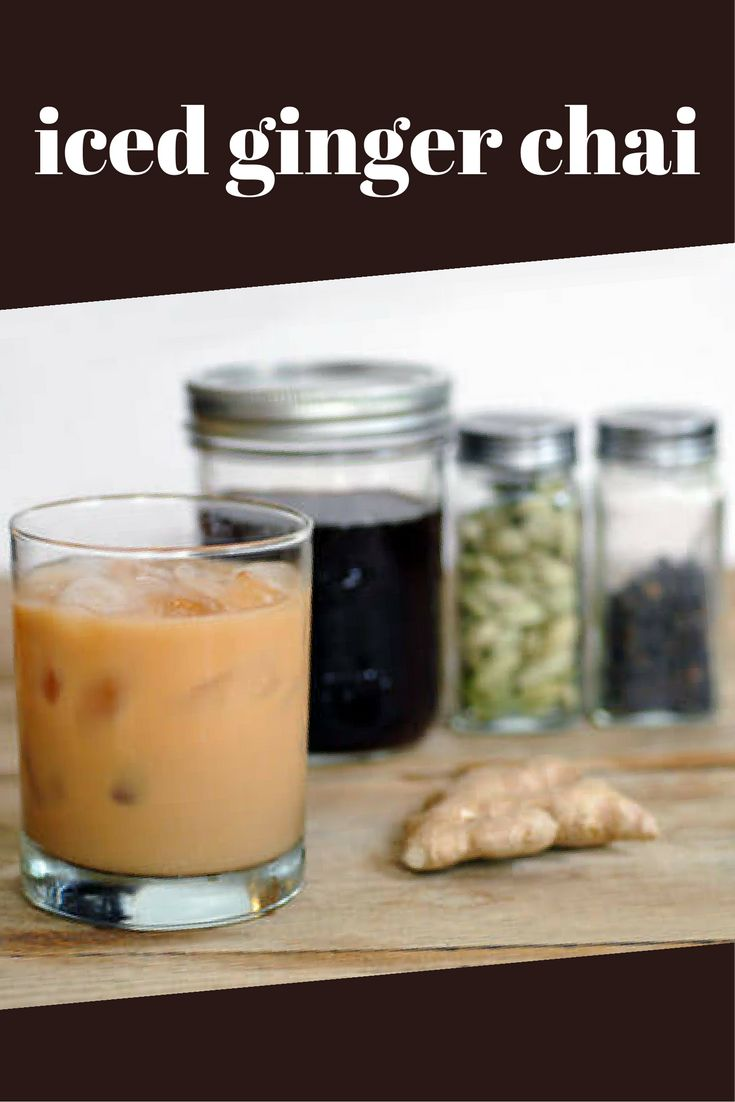 Easy Homemade Iced Ginger Chai Recipe. This healing caffeine-free tea is made with roiboos, ginger, cardamom, cloves, pepper, and fennel.
