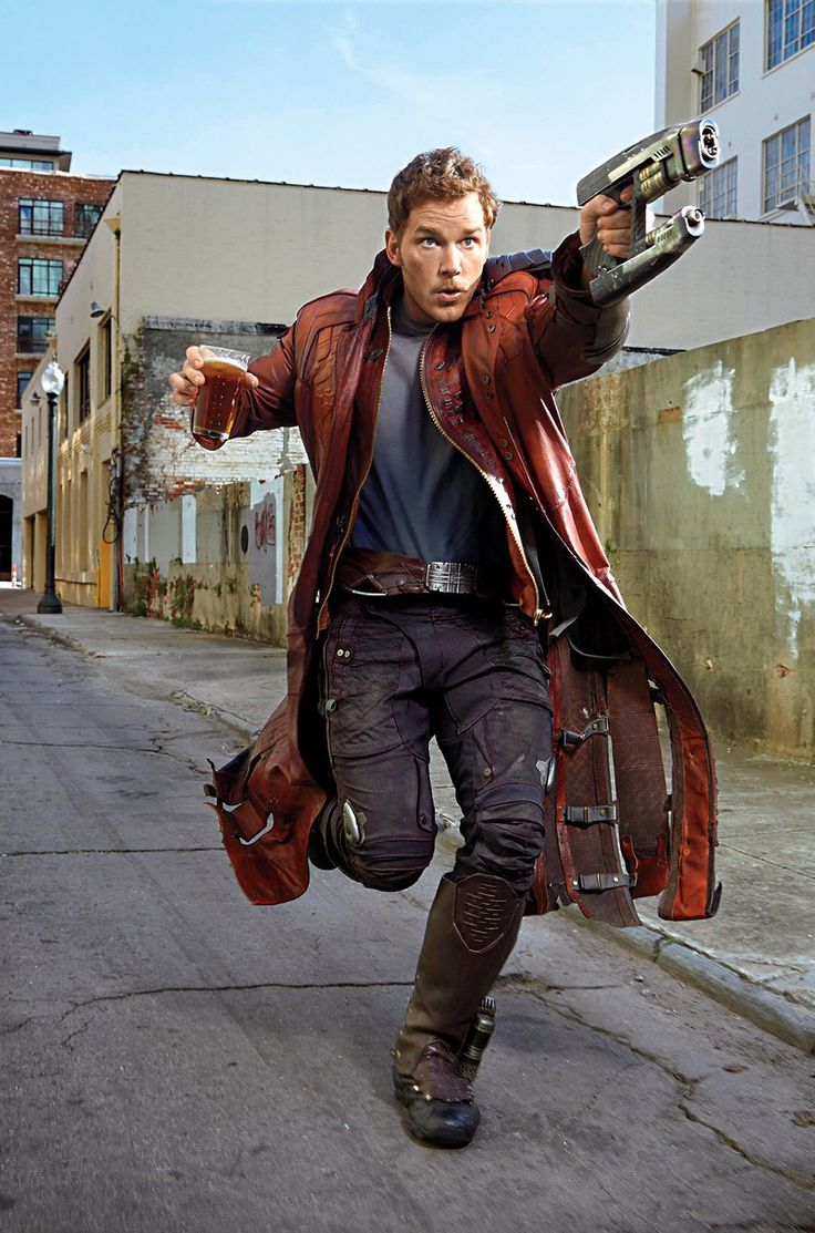 Starlord running with a beer and his element gun. Can't wait for The Guardians of the Galaxy but he's always gonna be Burt Macklin of the FBI to me