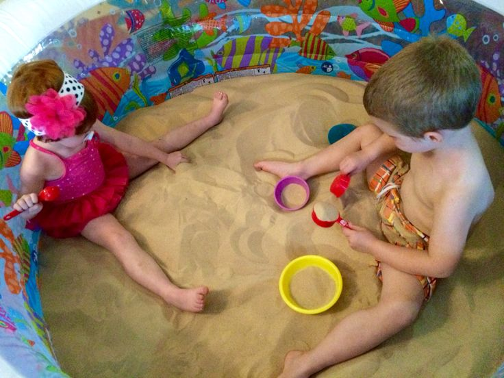 Our indoor sand box! One paddle pool from Amazon and 400lbs of sand. The whole thing cost under $50 and provides great sensory play year round
