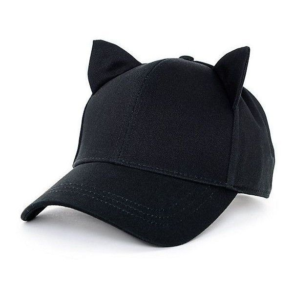 f9226d1cbba510 Empyre Cat Ear Onyx Black Strapback Hat ❤ liked on Polyvore featuring  accessories, hats, cat ear hat and baseball style hats #CatEars