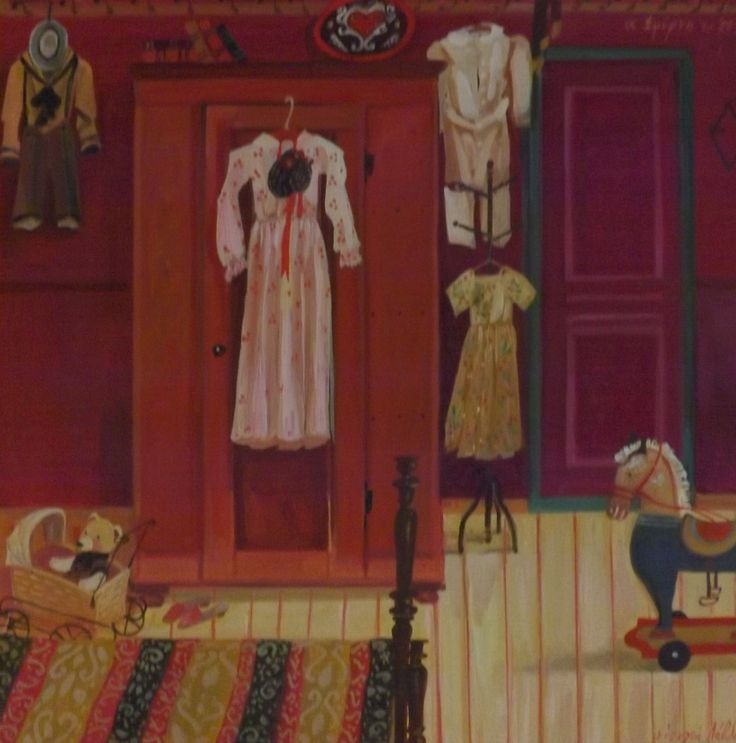 The cupboard with dresses,oil on canvas,by Efi Lavda.