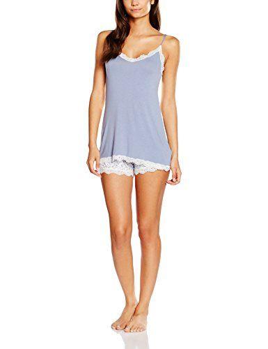 #Benetton #Damen #Umstands #Schlafanzug #Lace #Trim #Vest #Shorts #Set, #Blau…